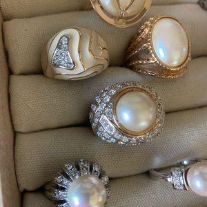 Vintage costume pear enamel rings